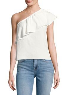 7 For All Mankind Ruffled One-Shoulder Top