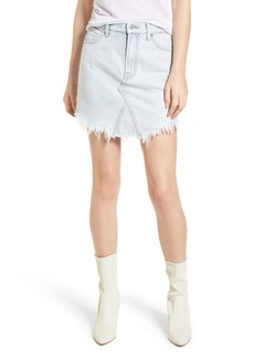 7 For All Mankind® Scallop Fray Hem Denim Skirt (Desert Sun Bleached)