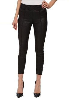 Seamed Leggings w/ Ankle Zips in Black Leather-Like