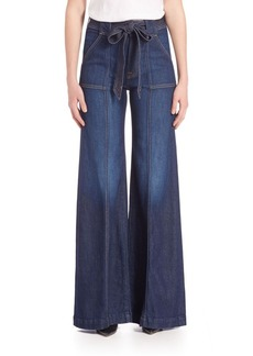 7 For All Mankind Self-Tie Belted Palazzo Jeans