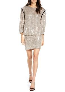 7 For All Mankind® Sequin Long Sleeve Blouson Minidress