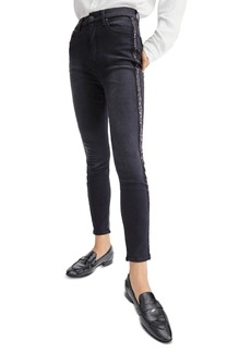 7 For All Mankind Sequin Side Stripe Skinny Ankle Jeans in Slim Illusion Essex