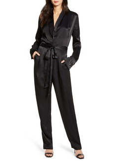 7 For All Mankind® Shawl Collar Satin Jumpsuit