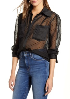 7 For All Mankind® Sheer Swiss Dot Shirt