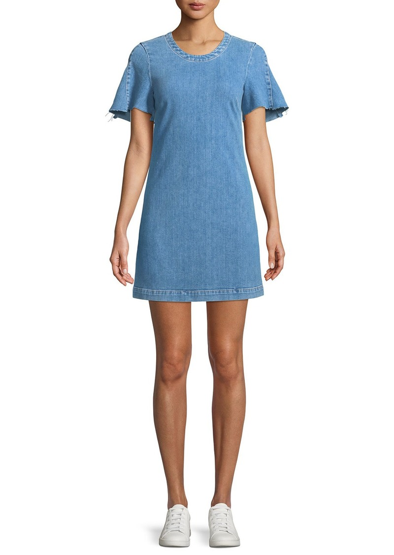 7 For All Mankind Short-Sleeve Denim Mini Dress