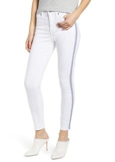 7 For All Mankind® Side Stripe High Waist Ankle Skinny Jeans (White Runway)