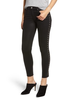 7 For All Mankind® Side Stud Ankle Skinny Jeans (Black with Studs)