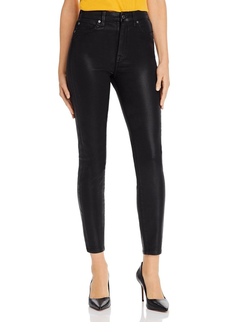 7 For All Mankind Skinny Ankle Jeans in Black Coated