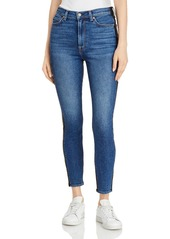 7 For All Mankind Skinny Ankle Jeans in Blue Nova Coated