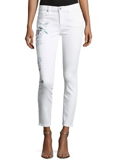 7 For All Mankind Skinny Ankle Jeans with Hand-Painted Floral