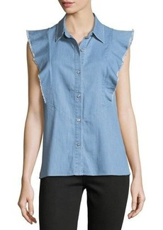 7 For All Mankind Sleeveless Ruffled Button-Front Denim Shirt