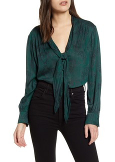 7 For All Mankind® Snake Print Tie Neck Blouse