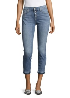 7 For All Mankind Solid Cropped Skinny Jeans