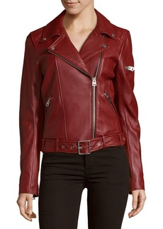 7 For All Mankind Solid Leather Moto Jacket