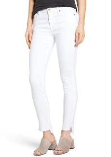 7 For All Mankind® Step Hem Ankle Skinny Jeans (Clean White)