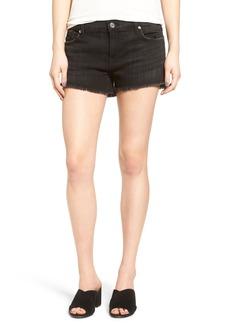 7 For All Mankind® Step Hem Cutoff Denim Shorts (Black Ocean Twill)