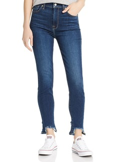 7 For All Mankind Step-Hem Distressed Ankle Skinny Jeans