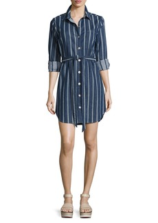 7 For All Mankind Striped Denim Belted Shirtdress