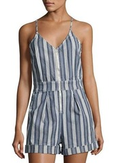 7 For All Mankind Striped Denim Short Romper