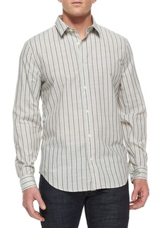 7 For All Mankind Men's Striped Long-Sleeve Sport Shirt  White/Black