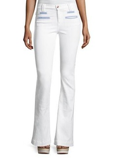 7 For All Mankind Tailored Chambray-Trim Trouser