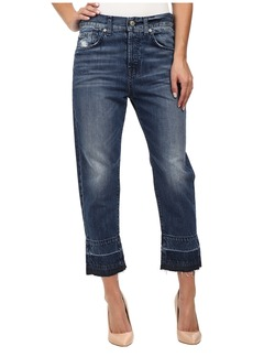 7 For All Mankind The 1984 Boyfriend with Released Hem in Rigid Lake Blue