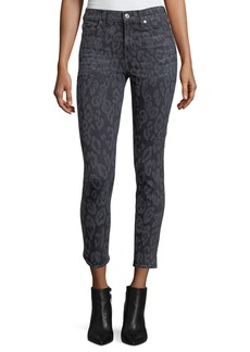 7 For All Mankind The Ankle Skinny Animal-Print Skinny Jeans