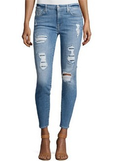 7 For All Mankind The Ankle Skinny Destroyed Jeans w/Sequins