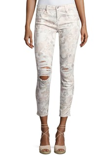 7 For All Mankind The Ankle Skinny Floral-Print Jeans with Distressing