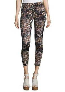 7 For All Mankind The Ankle Skinny Underground Paisley-Print Jeans