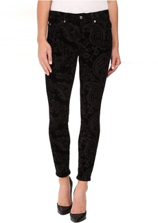 The Ankle Skinny w/ Contour Waist Band in Black Velveteen Paisley