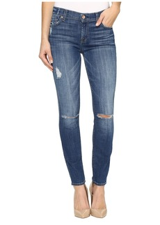 7 For All Mankind The Ankle Skinny w/ Destroy in Barrier Reef Broken Twill