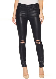 7 For All Mankind The Ankle Skinny w/ Destroy in Ink w/ Holes
