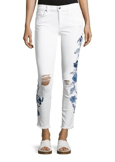 7 For All Mankind The Ankle Skinny W/ Embroidery