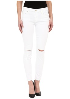 7 For All Mankind The Ankle Skinny w/ Knee Holes in Clean White 2