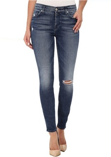 7 For All Mankind The Ankle Skinny with Navy Squiggle & Destroy in Lake Blue