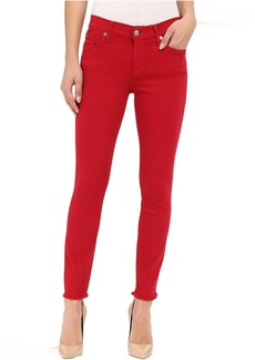 7 For All Mankind The Ankle Skinny with Raw Hem in Fuchsia Rose