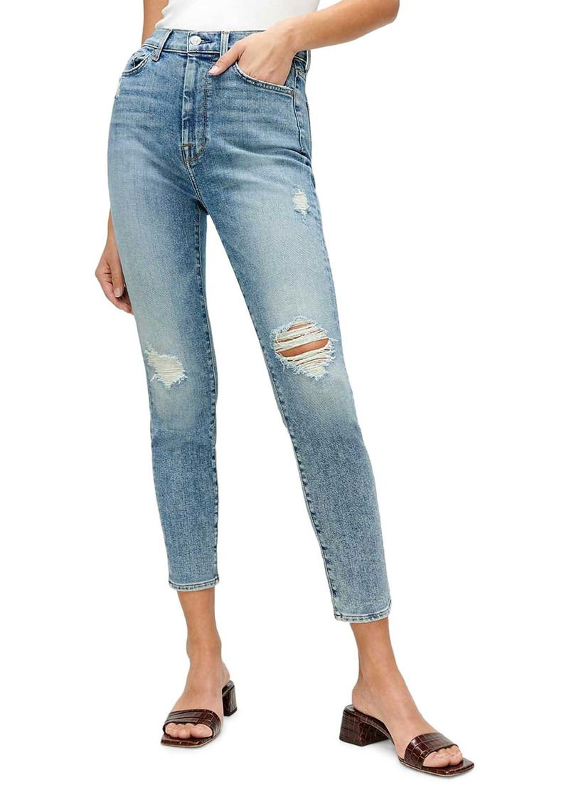 7 For All Mankind® The High Waist Ankle Skinny Jeans (Sanded Light)