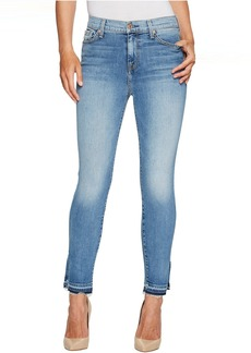7 For All Mankind The High Waist Ankle Skinny Jeans w/ Side Split Released Hem in Vintage Air Classic