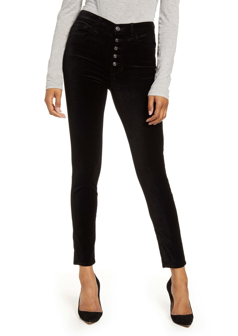 7 For All Mankind The High Waist Exposed Button Fly Velveteen Ankle Skinny Pants