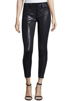 7 For All Mankind The Knee Seam Snake-Embossed Ankle Skinny Jeans