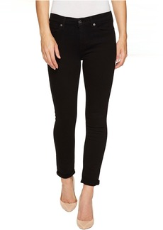 7 For All Mankind The Skinny Crop & Roll w/ Squiggle in Black Twill