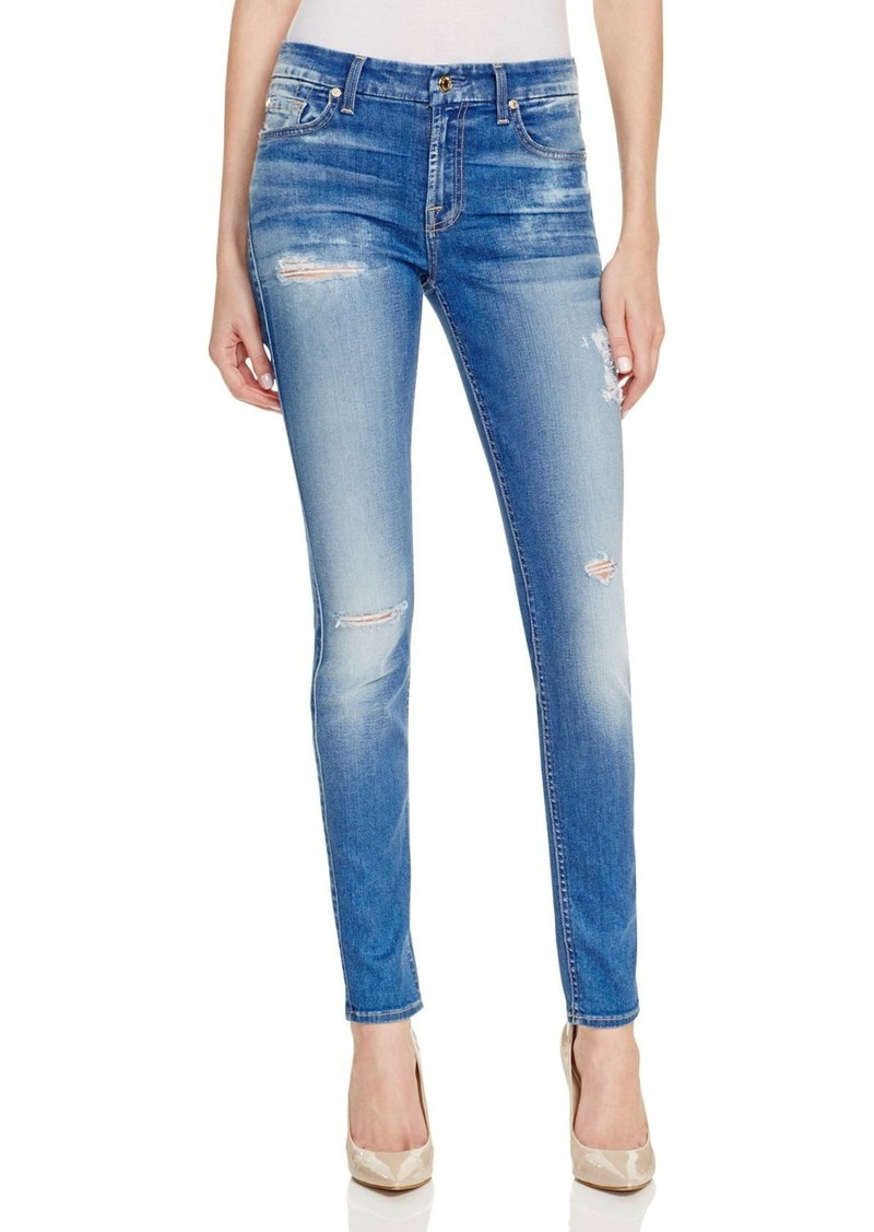 7 For All Mankind The Skinny Destroyed Jeans in Bright Bluebell