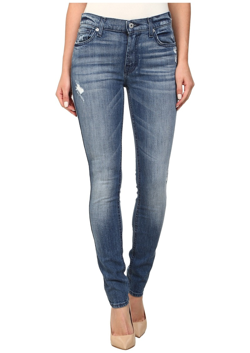 7 For All Mankind The Skinny w/ Squiggle in Red Cast Heritage Blue