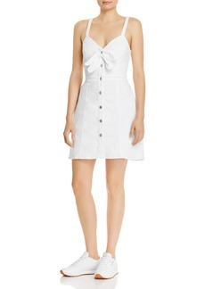 7 For All Mankind Tie-Front Dress in White Runway Denim