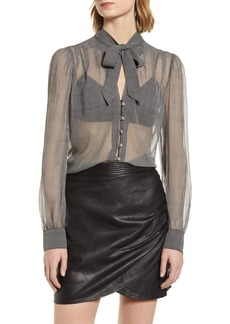 7 For All Mankind® Tie Neck Silk Blouse