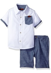 7 For All Mankind Toddler Boys' 2 Piece Chambray Trim Shirt and Short Set