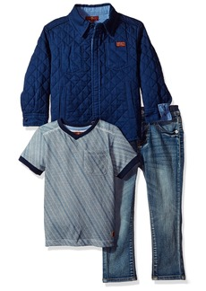7 For All Mankind Toddler Boys' 3 Piece Trucker Jacket T-Shirt and Jean Set