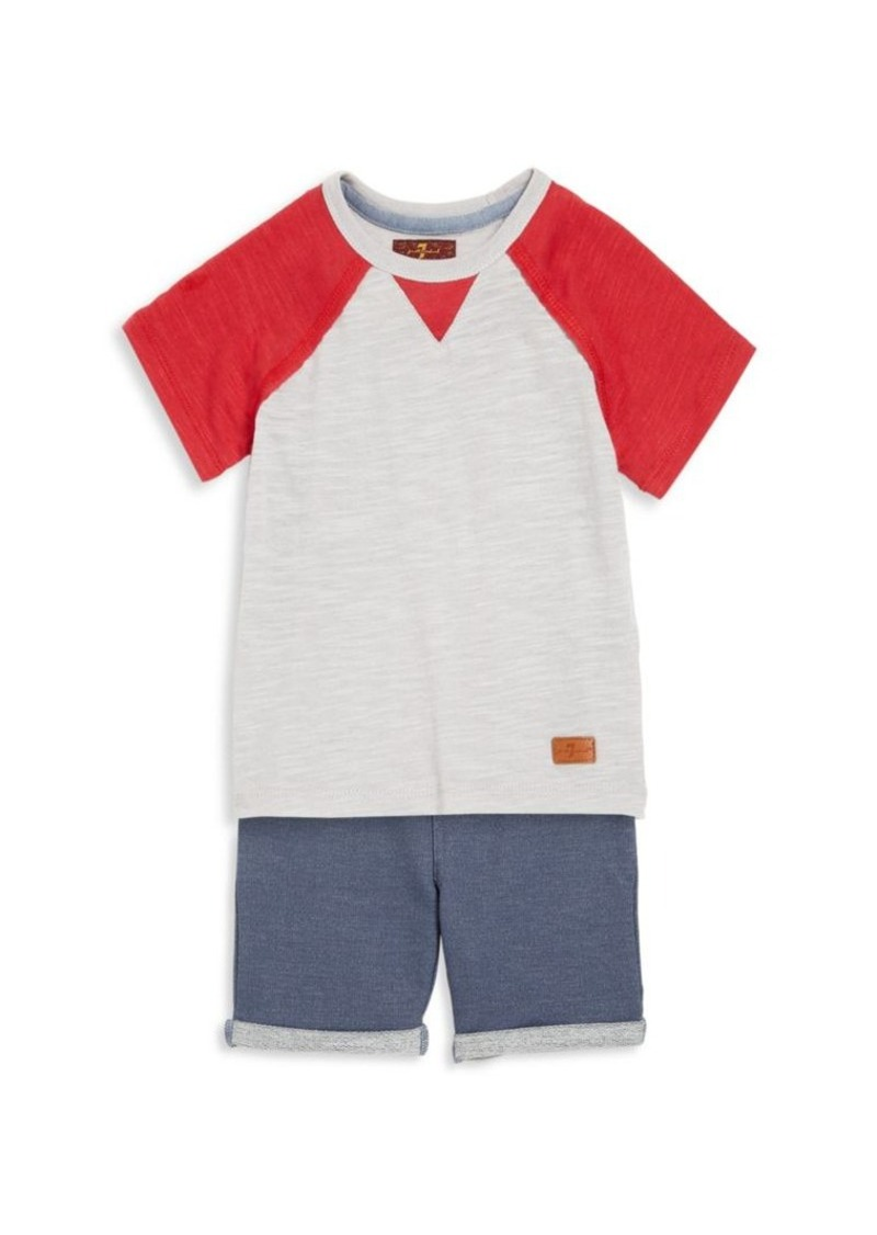 7 For All Mankind Toddler Boy's Two-Piece Raglan Tee & Shorts Set