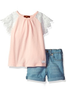 7 For All Mankind Toddler Girls' 2 Piece Lace Sleeve Top and Denim Short Set